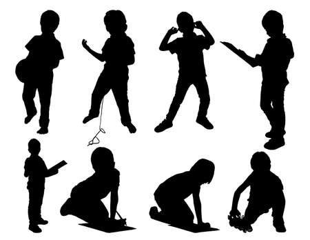 Leisure child  set silhouettes Stock Vector - 16312179