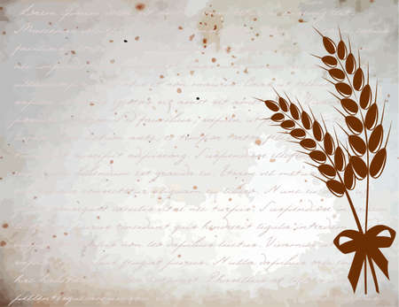 Ears of wheat on a vintage background Vector