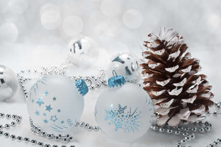 Christmas background with shiny balls photo