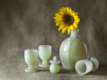 Still Life with Sunflowers, jug and glasses  photo