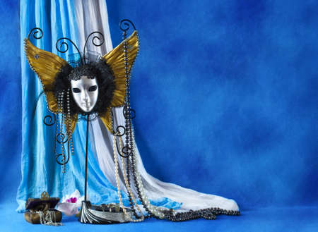 carnival background: Background with carnival mask and pearls Stock Photo