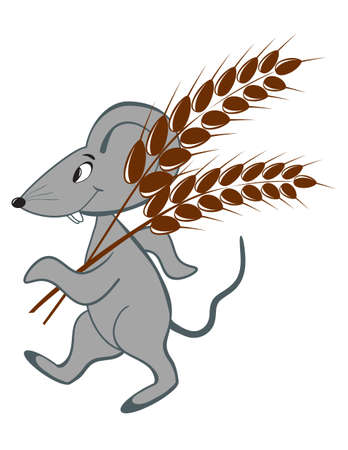 house mouse: Little mouse with wheat on a white background Illustration