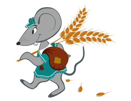 Little mouse with wheat on a white background Vettoriali