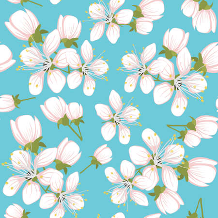 ramo di ciliegio: Seamless pattern con fiori di ciliegio