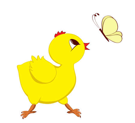 Abstract image of chick with butterfly Stock Vector - 17970097