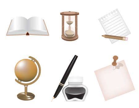Icon set school and business themes Vector