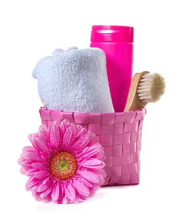 Spa background with towel and gerbera photo