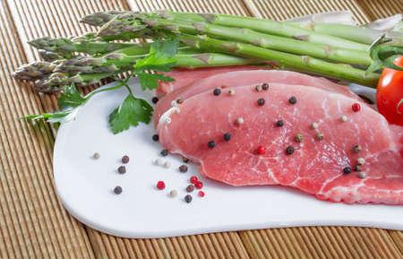 Pork fillet with fresh asparagus photo