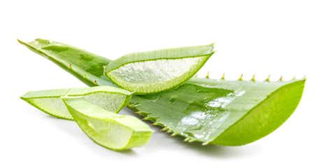cut aloe leaves on white background  Stock Photo
