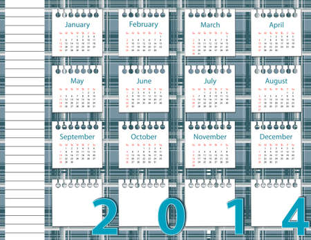 2014 year calendar on the background pattern in the cell  Vector