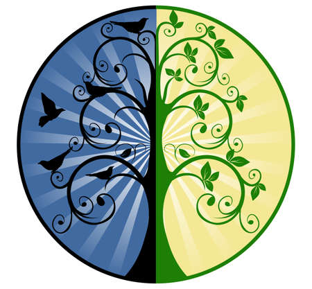 birds in tree: Albero della Vita e della Morte Vettoriali