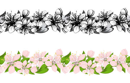 Horizontal seamless pattern with cherry blossoms  Vector
