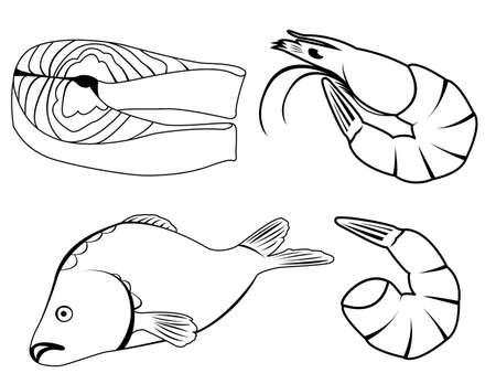 Reihe von Icons mit Meeresfrüchten