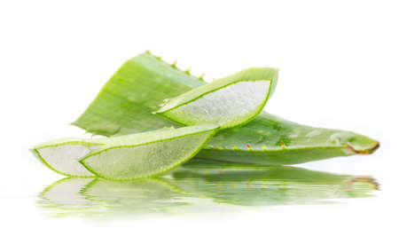 cut aloe leaves with reflection