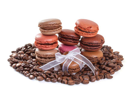 French macarons with coffee  Isolate on white  photo