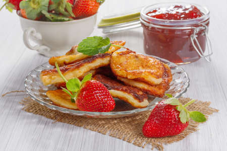 fritters: Fritters with strawberry jam and fresh strawberries