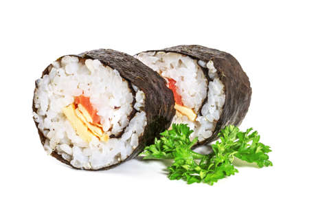 Traditional sushi isolated on white photo
