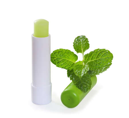 Hygienic lipstick with mint leaves