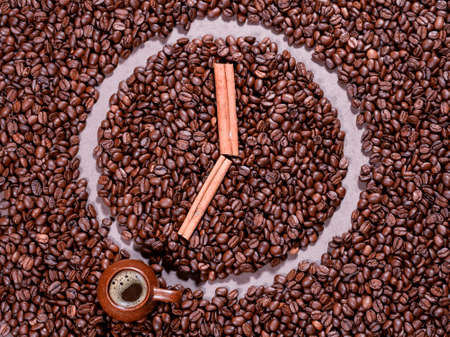 coffee beans in the form of clock Stock Photo