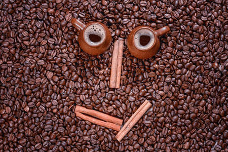 horisontal: coffee beans in the form of a smiling face Stock Photo