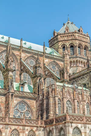 Famous Notre Dame de Strasbourg, Alsace, France  Details of architecture  photo