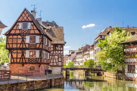 half timbered: House tanners, Petite France district  Strasbourg, France  Stock Photo
