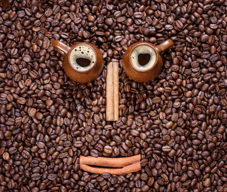 coffee beans in the form of a smiling face  photo