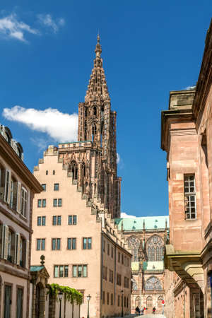 rue: View on Strasbourg Cathedral from Rue Merciere