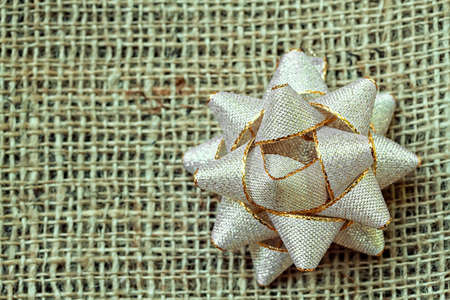 Holiday background of sacking with snowflake photo