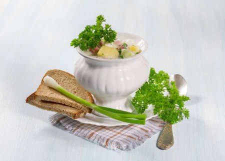Summer cold soup with vegetables  photo