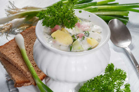 summery: Summer cold soup with vegetables  Stock Photo