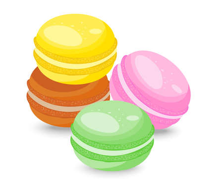 French macarons isolated on white background  Vector