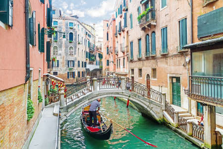 italy street: Canal in Venice, Italy Editorial