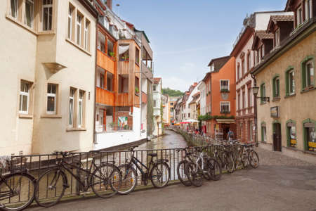 freiburg: FREIBURG IM BREISGAU, GERMANY - AUGUST 6, 2014: Area Little Venice in Freiburg, a city in the south-western part of Germany in the Baden-Wurttemberg state.