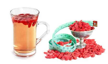 barbarum: Infusion of goji berries with dry berries Stock Photo