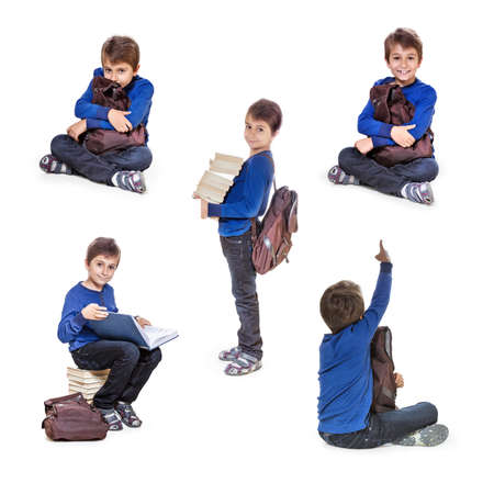 Set of portraits schoolboy with books. Isolate on white background. photo