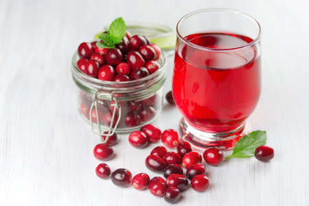 Fresh cranberry juice. Small depth of field