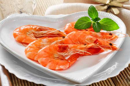 Fresh shrimp on a platter photo