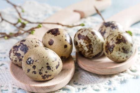 Quail eggs on wooden background closeup. photo