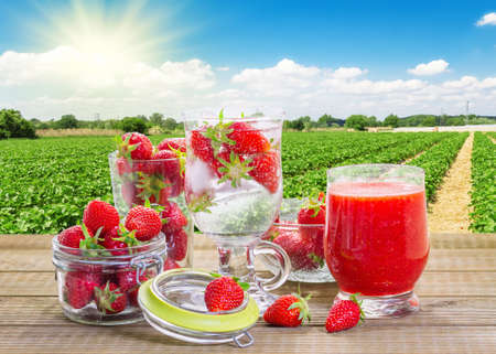 Strawberry smoothie with fresh berries in the strawberry field background. photo