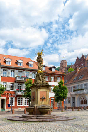 madonna: Statue of Madonna Mary and Jesus in town square.  Heidelberg Germany