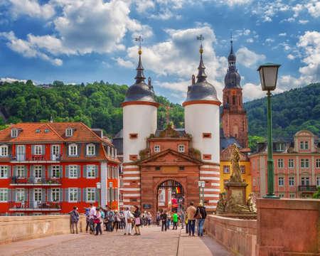 Famous Old Bridge Gate. Heidelberg, Germany