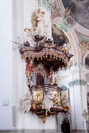 st gallen: St. Gallen cathedral interior. Swiss landmark listed on Unesco World Heritage List.
