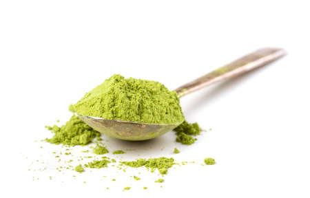matcha: Powder green tea isolated on white background Stock Photo