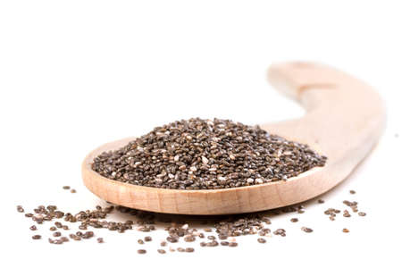 biologic: Chia seeds on a white background