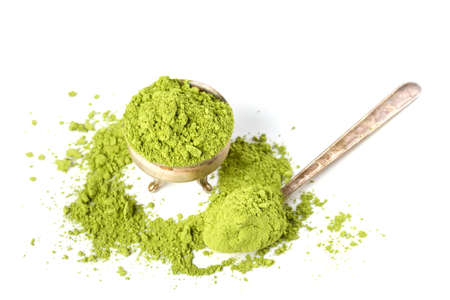 maccha: Powder green tea isolated on white background Stock Photo