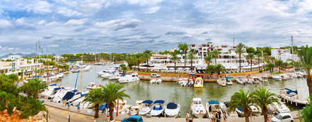 recreational: Panoramic view of the Cala DOr yacht marina harbor with recreational boats. Mallorca, Spain