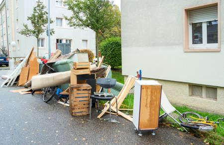 Big pile of old broken furniture Standard-Bild