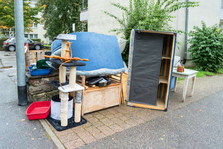 Big pile of old broken furniture 写真素材