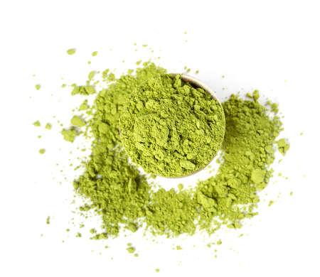 Powder green tea isolated on white background Imagens